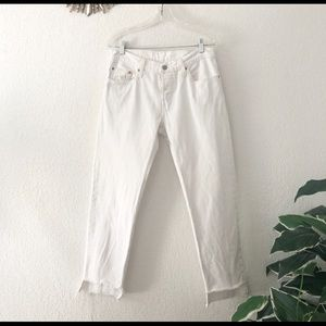 Levi's 501 CT Raw Hem White Button Fly Jeans